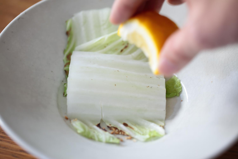 白菜の炭火焼き